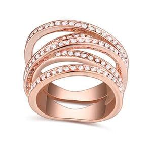 Prsteň s krištáľmi Swarovski a ružovým zlatom Natalia, veľkosť 52