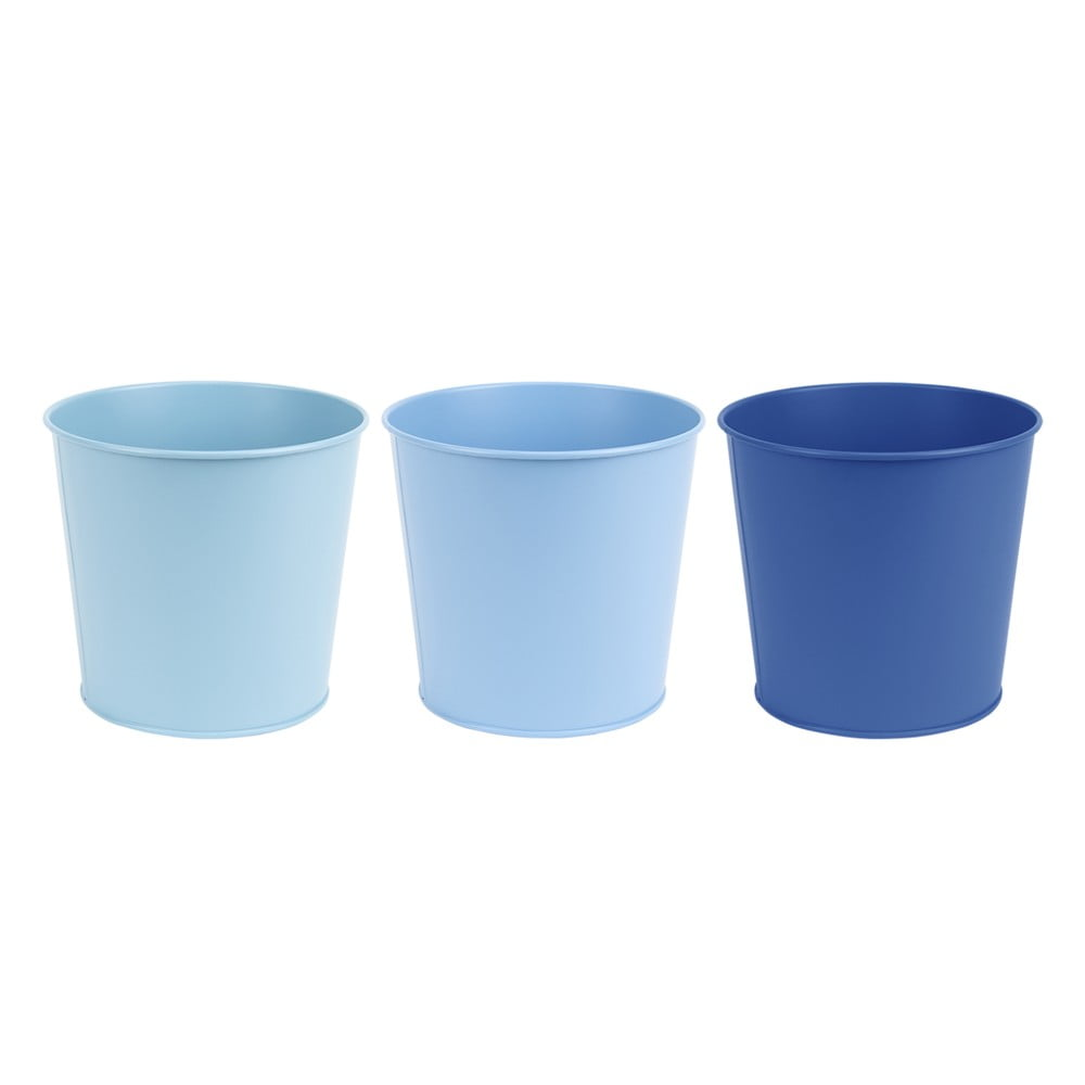 Tri kovové kvetináče v rôznych odtieňoch modrej, v. 15,4 cm Esschert Design