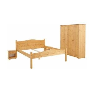 3dielny posteľný dvojlôžkový set z borovicového dreva Støraa Maine
