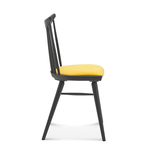 Sada 2 čiernych drevených stoličiek so žltým čalúnením Fameg Anton