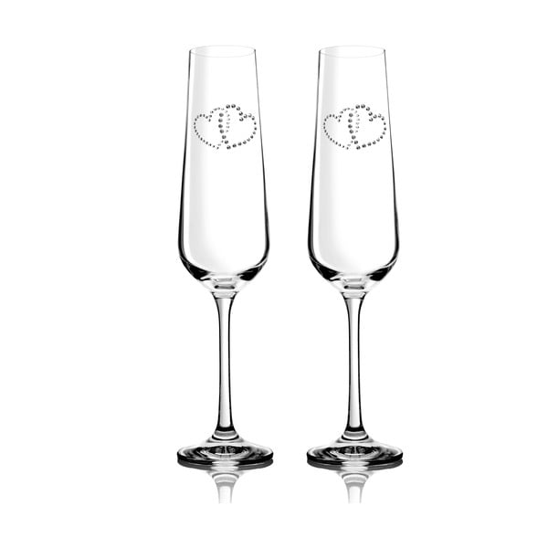 Sada 2 pohárov na šampanské Metta so Swarovski Elements v luxusnom balení