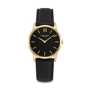 Dámske čierne hodinky s koženým remienkom a ciferníkom v zlatej farbe Eastside Upper Union