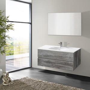 Kúpeľňová skrinka s umývadlom a zrkadlom Flopy, vintage dekor, 100 cm