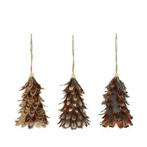 Sada 3 vianočných závesných dekorácií z peria Villa Collection Feathers, výška 10 cm