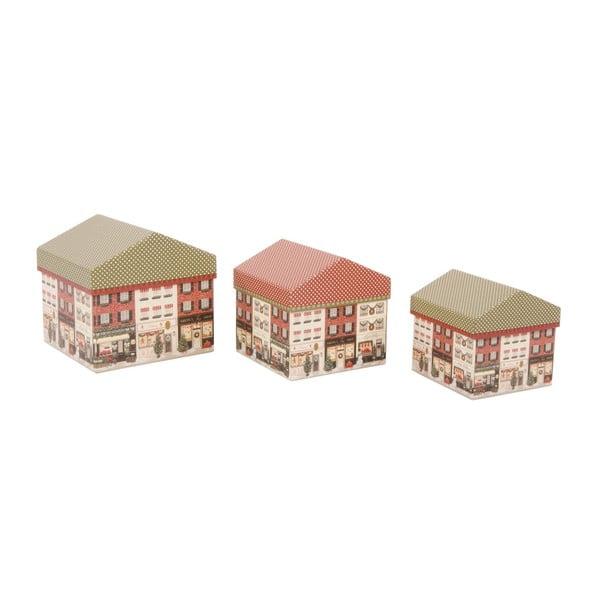 Sada 3 úložných krabíc Houses