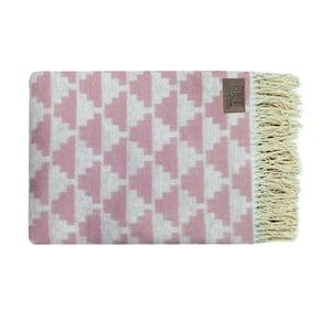 Ružový bavlnený pléd Triangles, 130x170cm