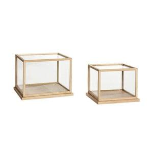 Sada 2 úložných dekoratívnych boxov s konštrukciou z dubového dreva Hübsch Oak Display Low