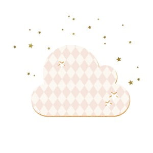 Dekoratívna samolepiaca nástenka Dekornik French Cloud Salmon Stars