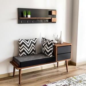 Set lavice s úložným priestorom a nástennej police s háčikmi Hamra
