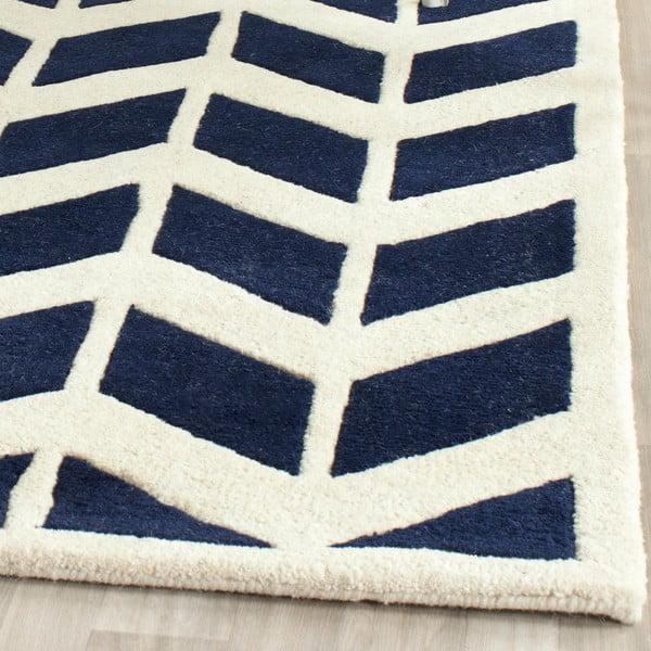 Vlnený koberec Brenna Navy, 68x213 cm