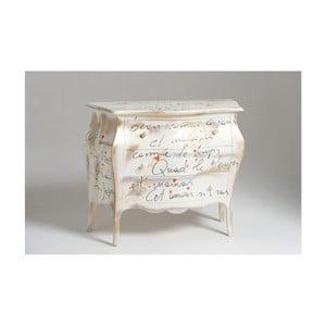 Biela drevená komoda s 3 zásuvkami Castagnetti Renoir