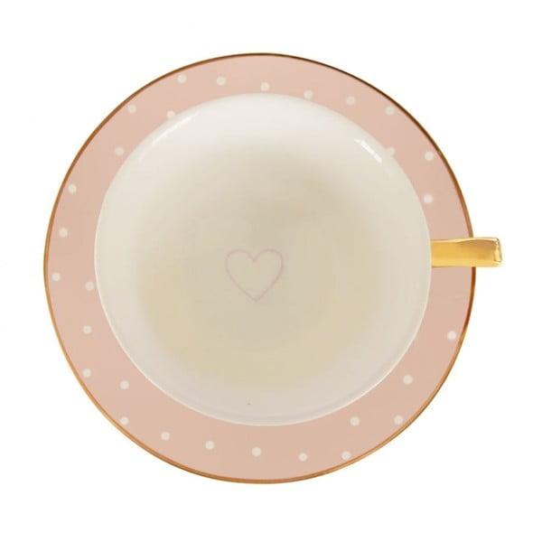 Ružový hrnček s tanierikom Bombay Duck Spotty