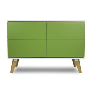 Komoda v dekore dreva so 4 zásuvkami a zelenými detailmi SKANDICA Jorgen