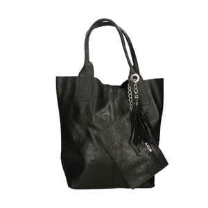 Čierna kožená kabelka Roberto Buono Valy