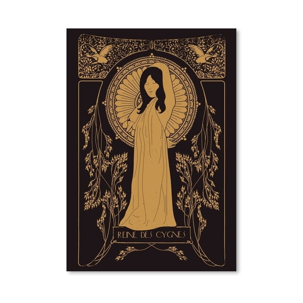 Plagát Reine Des Cygnes - Golden od Florenta Bodart, 30x42 cm