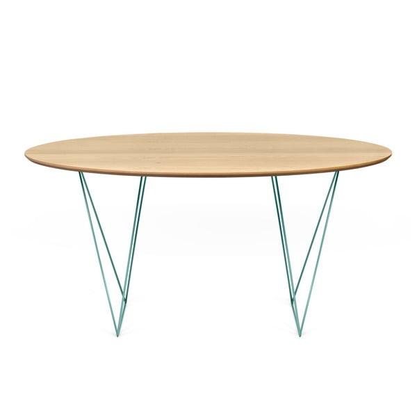 Jedálenský stôl v dekore dubového dreva so zelenou podnožou TemaHome Row, Ø150cm