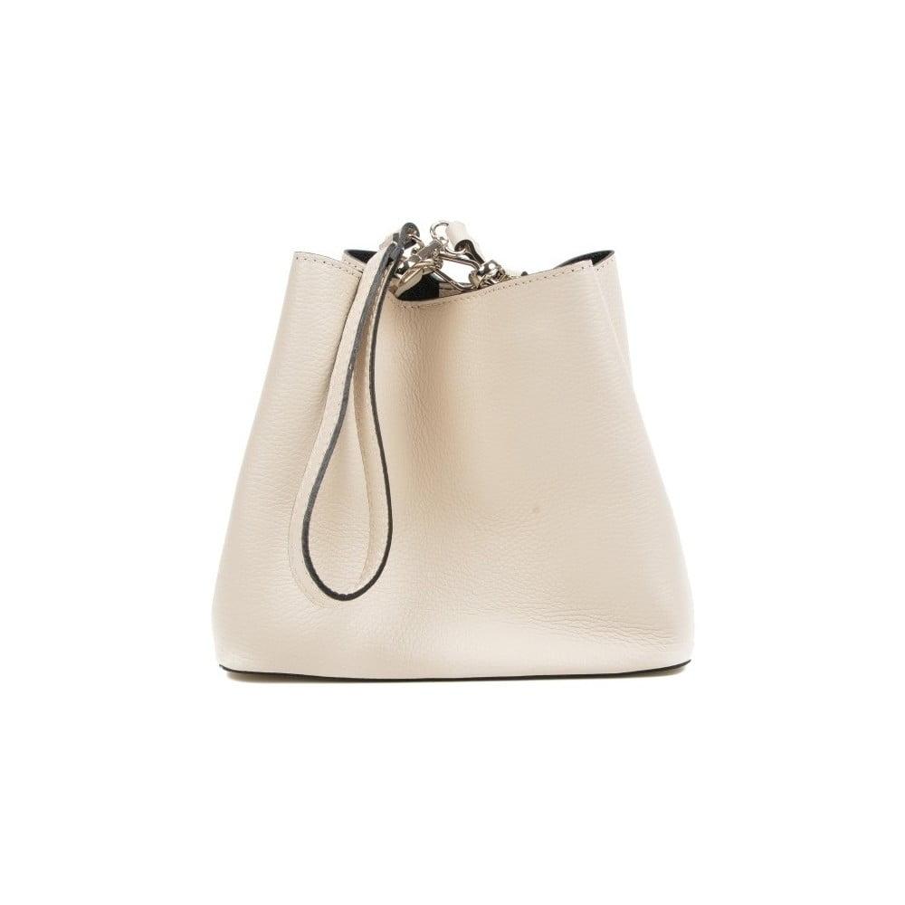 Béžová kožená kabelka Mangotti Bags Catarina