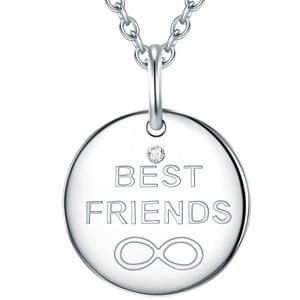Strieborný náhrdelník s pravým diamantom Tess Diamonds Best Friends, dĺžka 50 cm