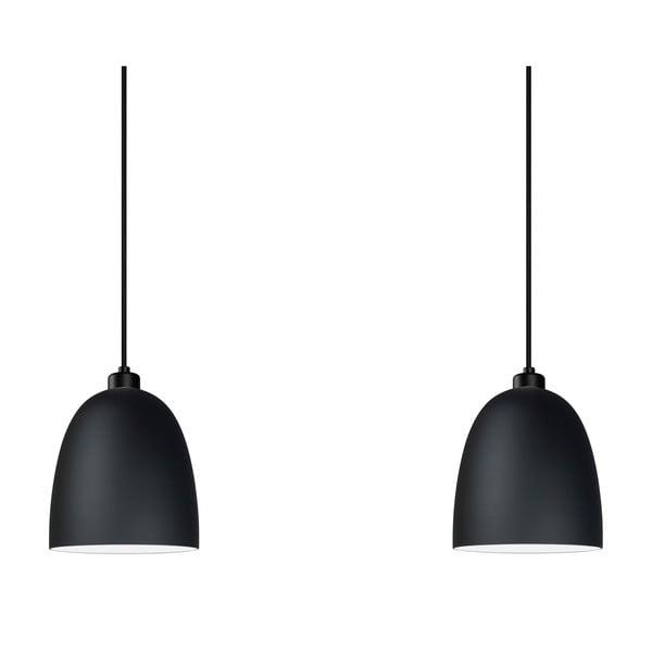 Čierne dvojité závesné svietidlo Sotto Luce Awa