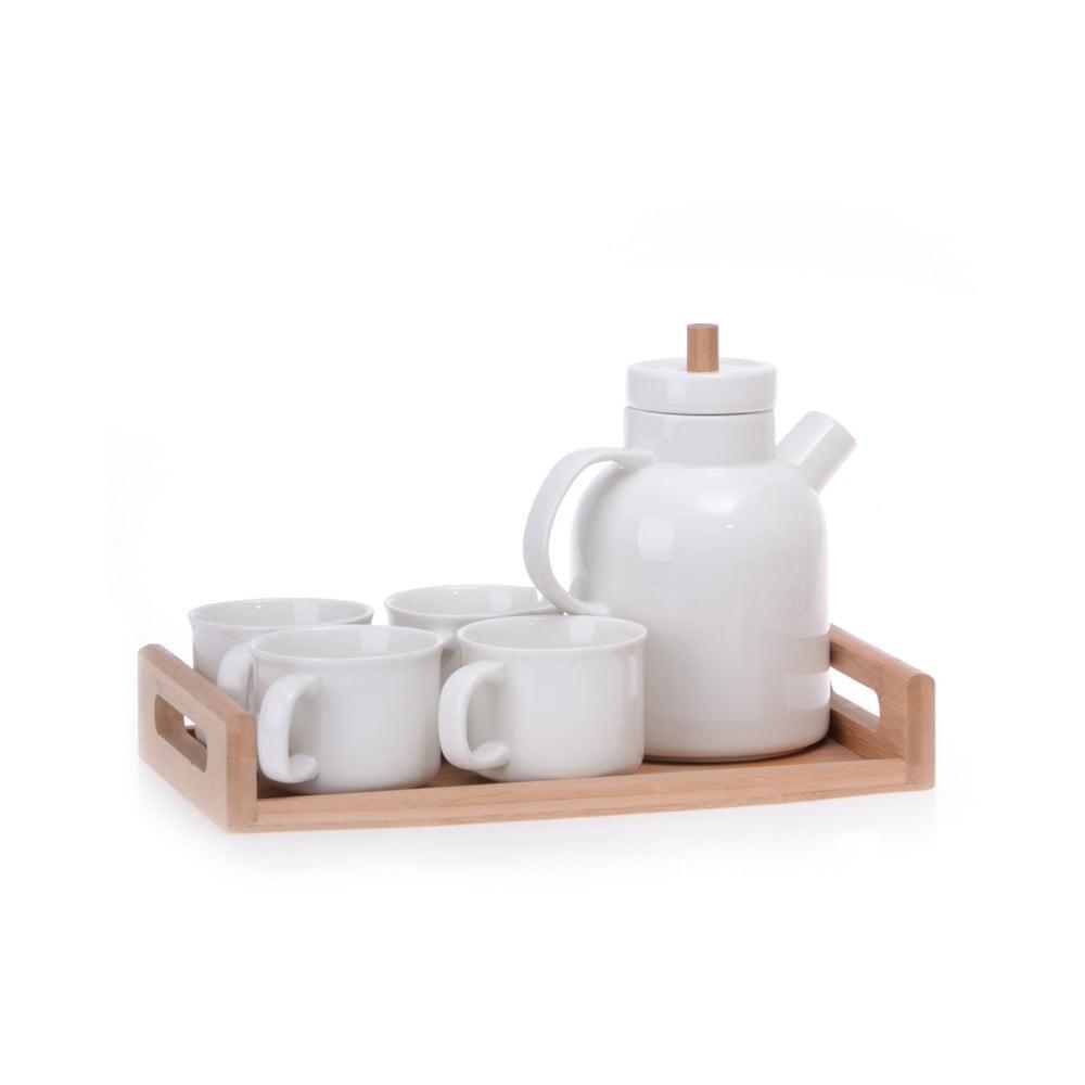 Porcelánový čajový set na bambusovom podnose Jordan