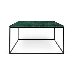 Zelený mramorový konferenčný stolík s čiernymi nohami TemaHome Gleam, 75cm