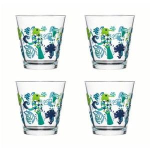 Sada 4 pohárov Sagaform Fantasy 200ml, zelená/modrá