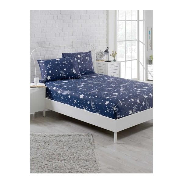 Set modrej elastickej plachty a 2 obliečok na vankúše na jednolôžko Clementino Starro, 160 × 200 cm