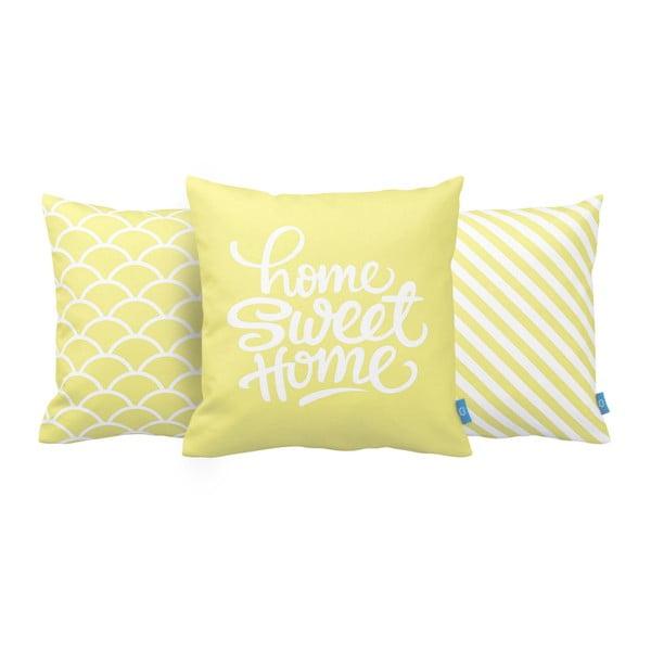 Sada 3 vankúšov Home Sweet Home, 43x43 cm, žltá