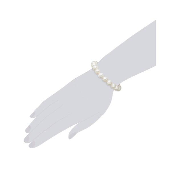 Perlový náramok Muschel, biele perly 10 mm, dĺžka 16 cm