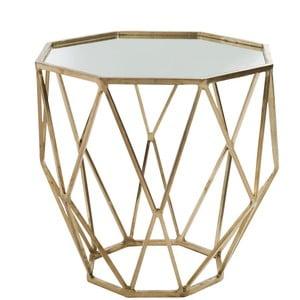 Zlatý odkladací stolík so zrkadlovou doskou Geometry, Ø55 cm