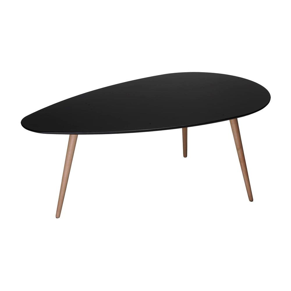 Čierny konferenčný stolík s nohami z bukového dreva Furnhouse Fly, 160 x 66 cm