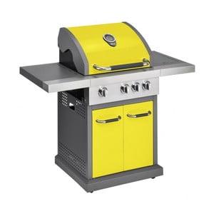 Žltý plynový gril s 3 samostatne ovládateľnými horákmi, teplomerom a bočným ohrievačom Jamie Oliver Pro
