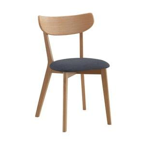 Prírodná dubová stolička so sivým sedákom Folke Sylph