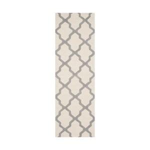 Vlnený koberec Ava White Grey, 76x243 cm