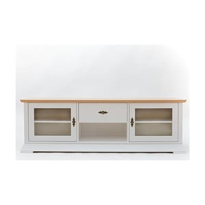 Biela TV komoda s detailmi z dubovej dyhy a sklenenými dvierkami Wermo Family Liisa
