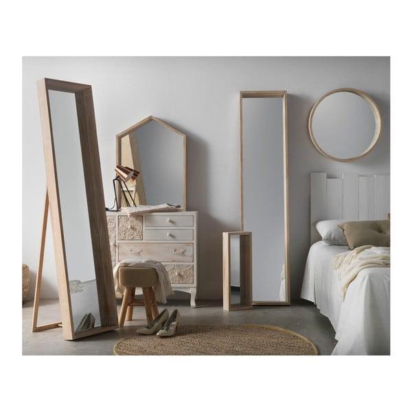 Nástenné zrkadlo z dreva paulovnia Geese Pure, Ø62 cm