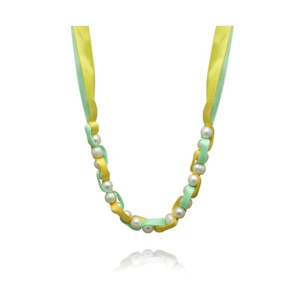 Perlový náhrdelník na zelenej stužke Nova Pearls Copenhagen Mara de Vida