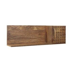 Nástenná polica z mangového dreva so skrinkou na pravej strane Bizzotto Emira