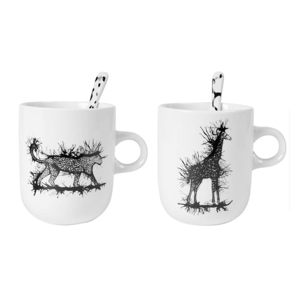 Sada 2 porcelánových hrnčekov s lyžičkami Kilimandjaro Mugs