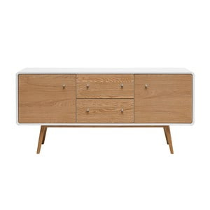 Nízka komoda z dreva bieleho duba Unique Furniture Turin