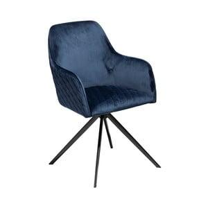 Tmavomodrá jedálenská stolička s opierkami DAN–FORM Denmark Twine Velvet