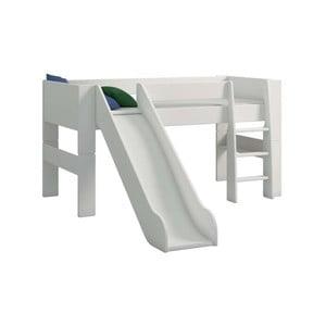 Biela detská poschodová posteľ so šmykľavkou Steens For Kids, výška 113 cm