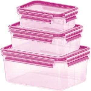 Sada 3 krabičiek na jedlo Clip&Close Rapsberry, 0,55+1+2,3 l