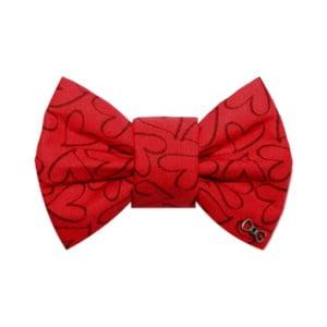 Červený charitatívny psí motýlik so srdiečkami Funky Dog, veľ. L