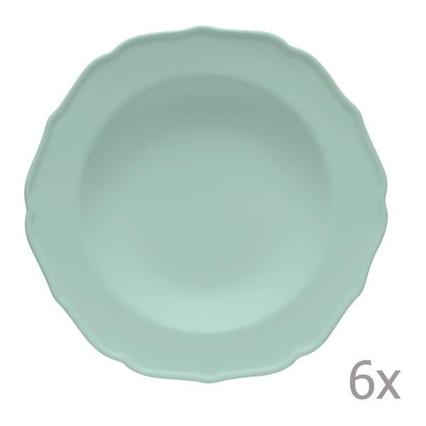 Sada 6 hlbokých tanierov Glamour Azzurro