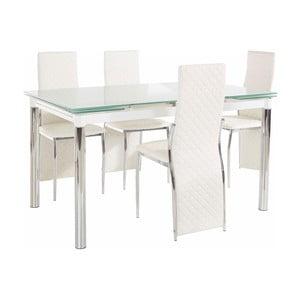 Set jedálenského stola a 4 bielych jedálenských stoličiek Støraa Pippa William Puro White
