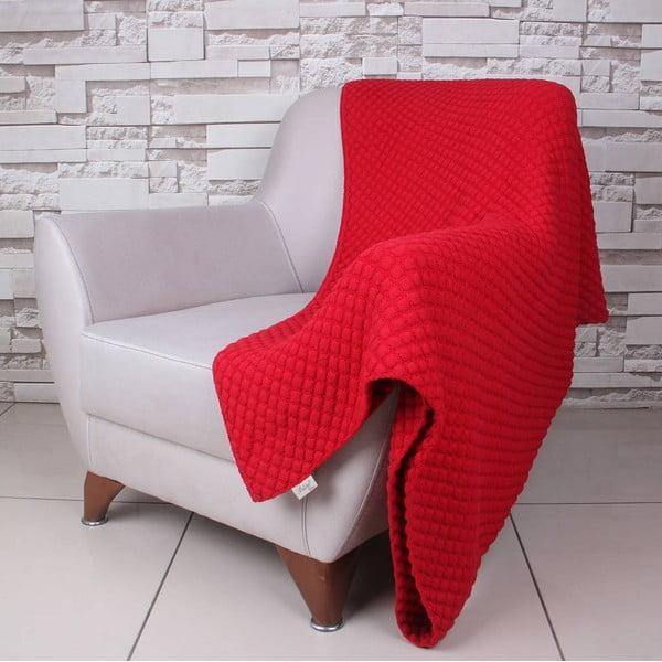 Červená bavlnená deka Ciana, 130×170 cm
