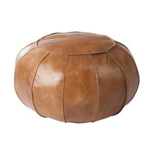 Hnedý kožený puf J-Line Cognac