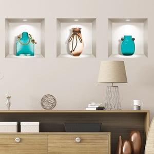 Sada 3 3D samolepiek na stenu Ambiance Decorativ Seaside Vases