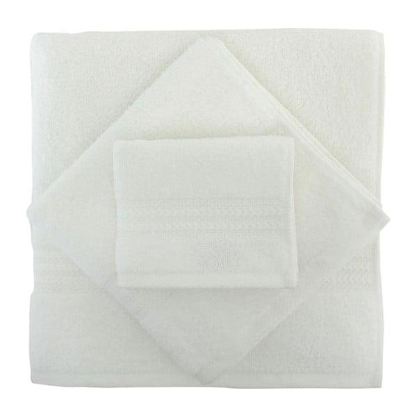 Set 3 bielych uterákov a osušky Rainbow